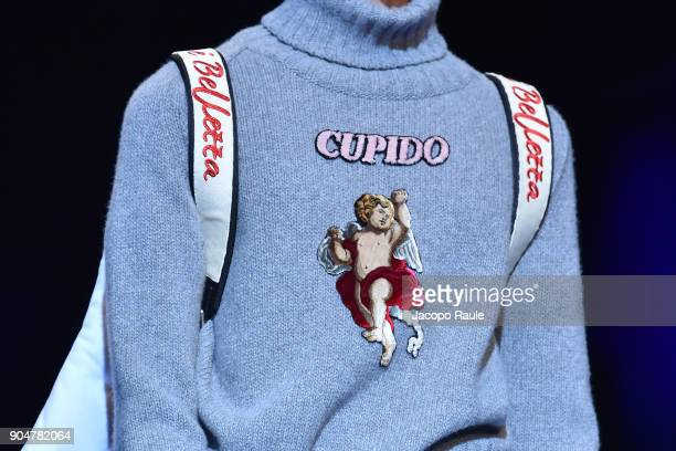 A model detail walks the runway at the Dolce Gabbana show during Milan Men's Fashion Week Fall/Winter 2018/19 on January 13 2018 in Milan Italy