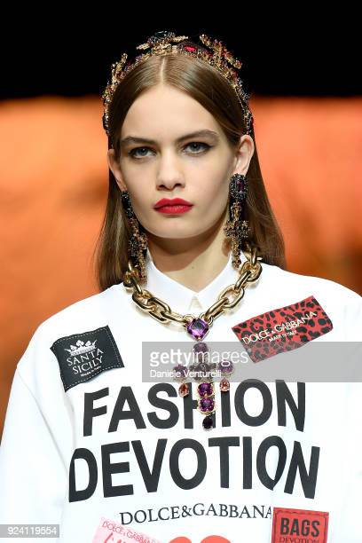 A model detail walks the runway at the Dolce Gabbana show during Milan Fashion Week Fall/Winter 2018/19 on February 25 2018 in Milan Italy