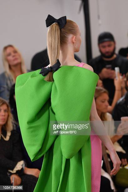 A model detail walks the runway at the Emilia Wickstead during London Fashion Week September 2018 on September 17 2018 in London England