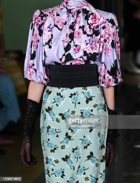 Model, detail, walks the runway at the Erdem show during London Fashion Week February 2020 on February 17, 2020 in London, England.