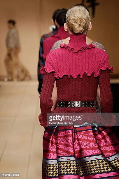 A model detail walks the runway at the Laura Biagiotti show during Milan Fashion Week Fall/Winter 2016/17 on February 28 2016 in Milan Italy