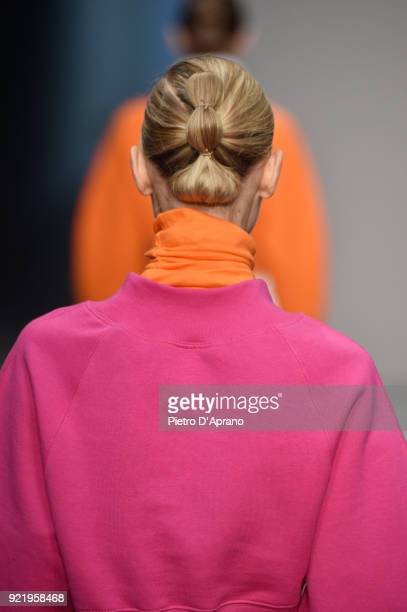 A model detail walks the runway at the Lucio Vanotti show during Milan Fashion Week Fall/Winter 2018/19 on February 21 2018 in Milan Italy