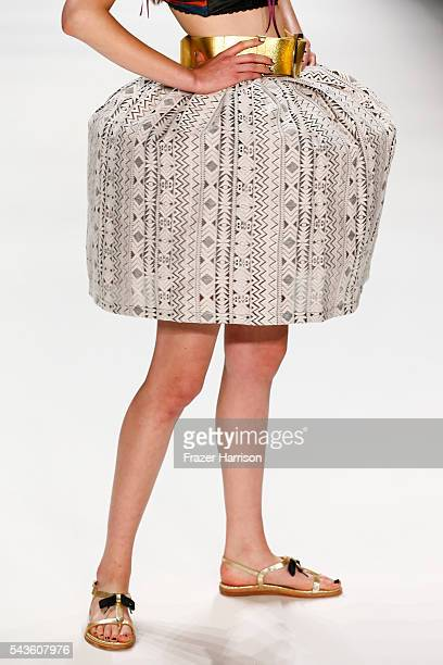A model detail walks the runway at the Rebekka Ruetz show during the MercedesBenz Fashion Week Berlin Spring/Summer 2017 at Erika Hess Eisstadion on...
