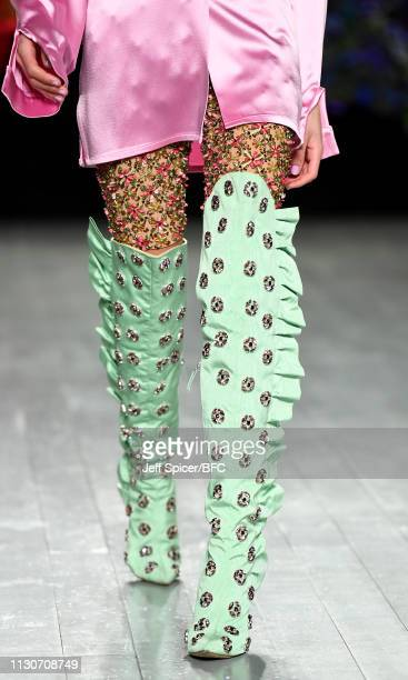 Model, detail, walks the runway at the Roberta Einer show during London Fashion Week February 2019 at the BFC Show Space on February 19, 2019 in...