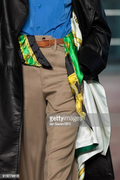 A model detail walks the runway at the Toga show during London Fashion Week February 2018 on February 17 2018 in London England