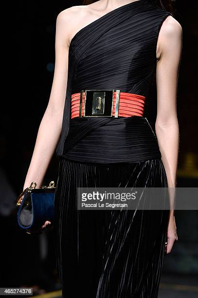 A model detail walks the runway during the Balmain show as part of the Paris Fashion Week Womenswear Fall/Winter 2015/2016 on March 5 2015 in Paris...