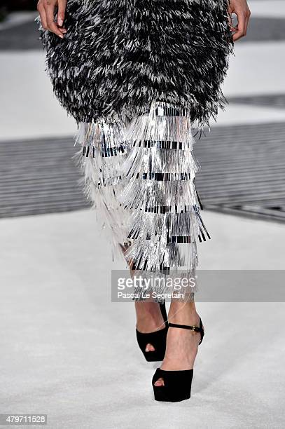 A model detail walks the runway during the Giambattista Valli show as part of Paris Fashion Week Haute Couture Fall/Winter 2015/2016 on July 6 2015...