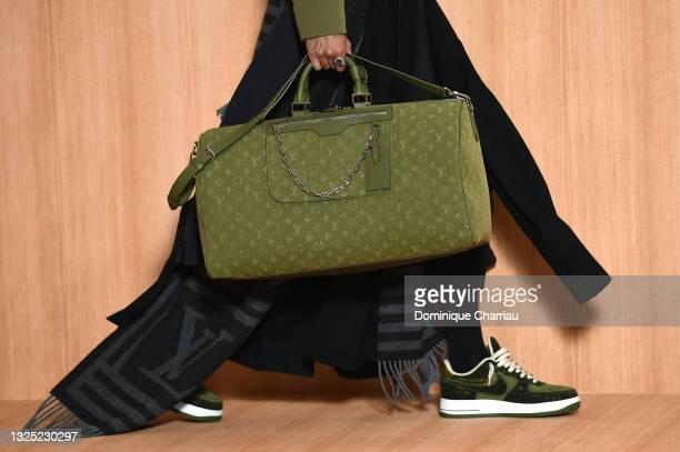 Model, detail, walks the runway during the Louis Vuitton Menswear Spring Summer 2022 show as part of Paris Fashion Week on June 24, 2021 in Paris,...