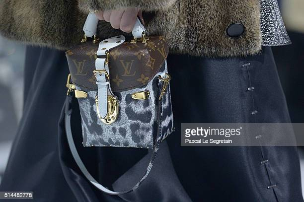A model detail walks the runway during the Louis Vuitton show as part of the Paris Fashion Week Womenswear Fall/Winter 2016/2017 on March 9 2016 in...