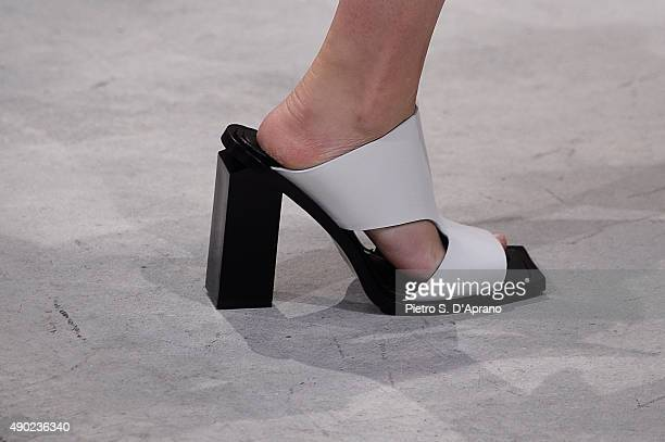 A model detail walks the runway during the Marni fashion show as part of Milan Fashion Week Spring/Summer 2016 on September 27 2015 in Milan Italy