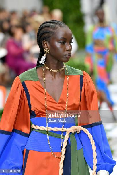 Model, detail, walks the runway during Tory Burch NYFW SS20 at the Brooklyn Museum on September 08, 2019 in Brooklyn City.