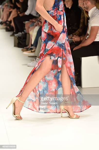 A model detail walks the runway in a design by Casper Pearl at the St George New Generation show at MercedesBenz Fashion Week Australia 2015 at...