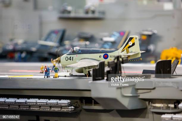 Model details on Dave Fortey's model of HMS Ark Royal at the London Model Engineering Exhibition at Alexandra Palace on January 1st 2018 Mr Fortey a...