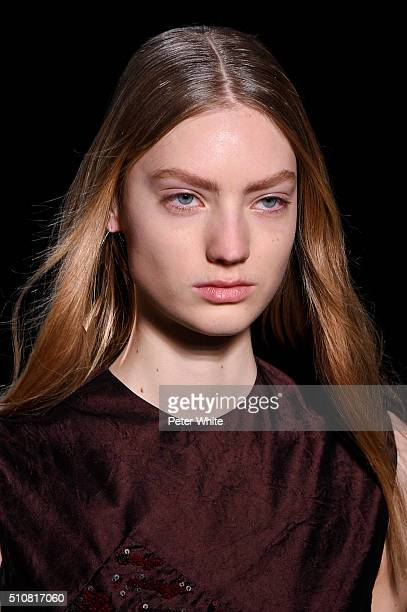 Model details walk the runway wearing Narciso Rodriguez Fall 2016 during New York Fashion Week at SIR Stage 37 on February 16 2016 in New York City
