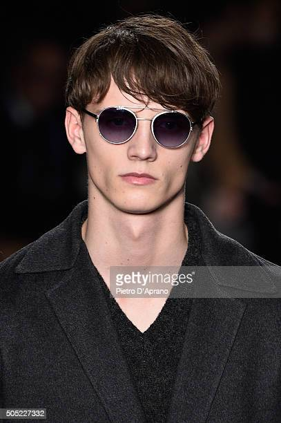 A model details walks the runway at the Jil Sander show during Milan Men's Fashion Week Fall/Winter 2016/17 on January 16 2016 in Milan Italy