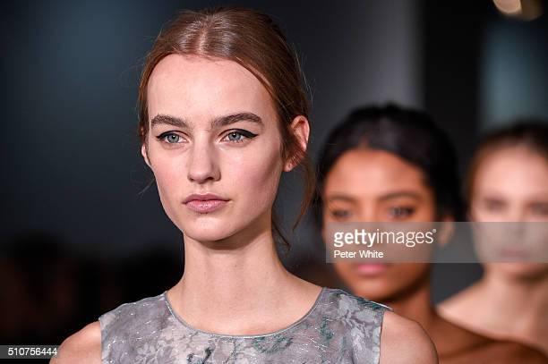 A model details walks the runway at theOscar De La Renta fashion show at Prince George Ballroom on February 16 2016 in New York City