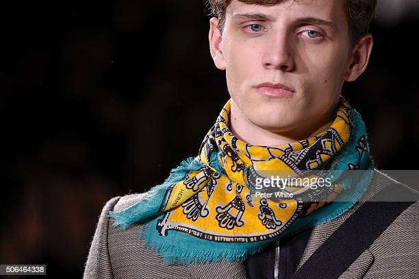 A model details walks the runway during the Hermes Menswear Fall/Winter 20162017 show as part of Paris Fashion Week on January 23 2016 in Paris France