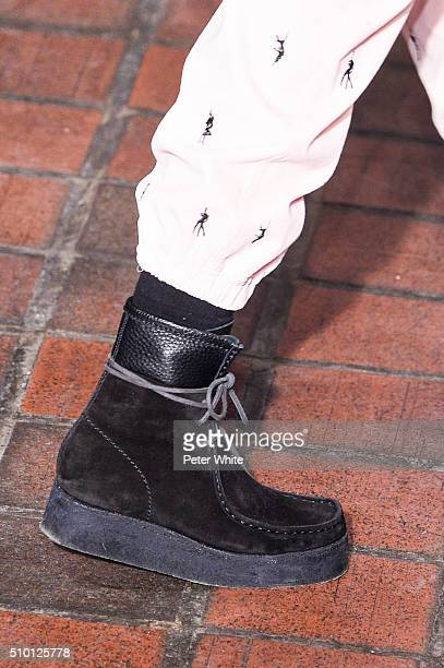 A model details walks the runway wearing Alexander Wang Fall 2016 during New York Fashion Week at St Bartholomew's Church on February 13 2016 in New...