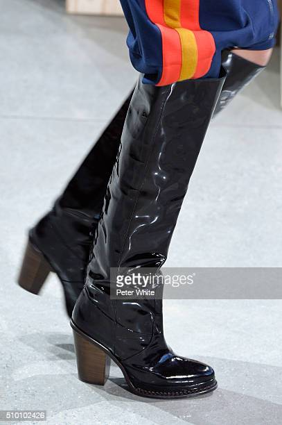 A model details walks the runway wearing Lacoste Fall 2016 during New York Fashion Week at Spring Studios on February 13 2016 in New York City