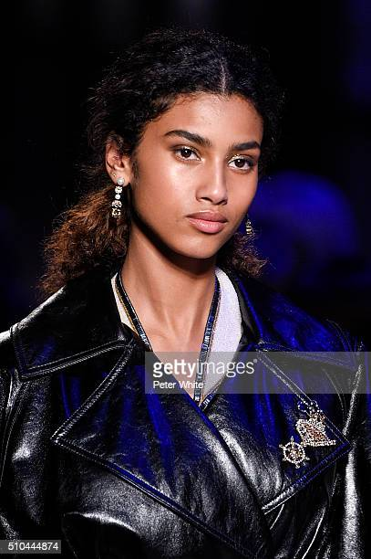 A model details walks the runway wearing Tommy Hilfiger Women's Fall 2016 during New York Fashion Week at Park Avenue Armory on February 15 2016 in...