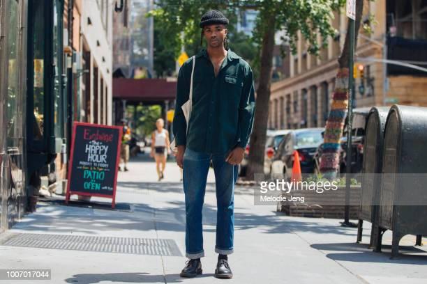 Model Devon B Johnson during New York Fashion Week Men's Spring/Summer 2019 on July 11 2018 in New York City