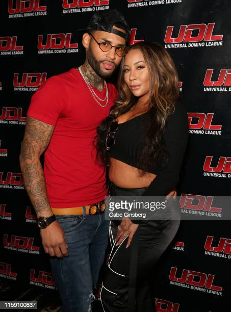Model Devon Burton and rapper HazelE attend Universal Domino League's Las Vegas Summer Classic at Palms Casino Resort on June 29 2019 in Las Vegas...
