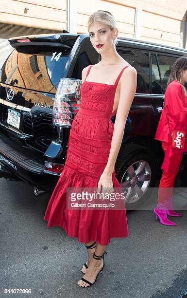 Model Devon Windsor arrives at the Brock Collection fashion show during New York Fashion Week Presented By MADE at Gallery 2 Skylight Clarkson Sq on...