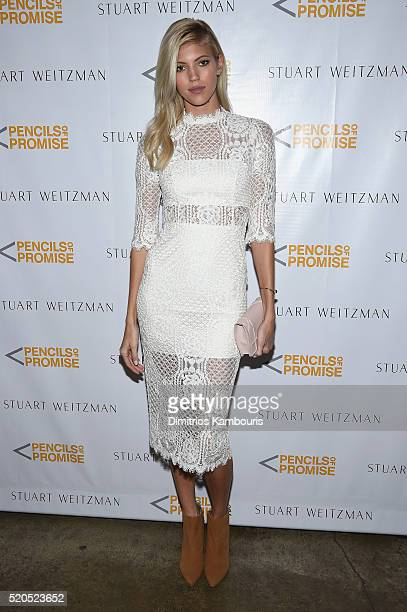Model Devon Windsor attends as Stuart Weitzman launches its partnership with Pencils Of Promise at Sadelle's on April 11 2016 in New York City