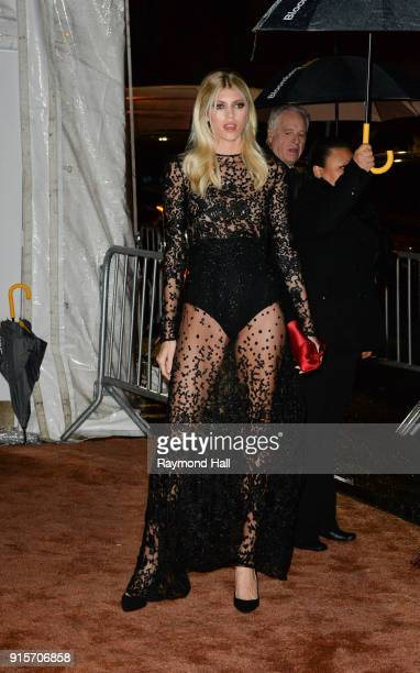 Model Devon Windsor is seen arriving to the 2018 amfAR Gala New York at Cipriani Wall Street on February 7 2018 in New York City