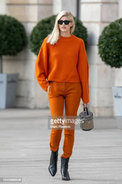 Model Devon Windsor is seen on Place Vendome on October 1 2018 in Paris France
