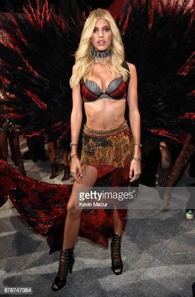 Model Devon Windsor poses backstage during 2017 Victoria's Secret Fashion Show In Shanghai at MercedesBenz Arena on November 20 2017 in Shanghai China