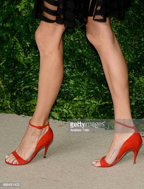 Model Devon Windsor, shoe detail, attends the 12th annual CFDA/Vogue Fashion Fund Awards at Spring Studios on November 2, 2015 in New York City.