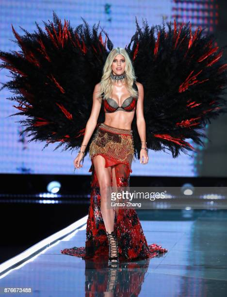 Model Devon Windsor walks the runway for Swarovski Sparkles In the 2017 Victoria's Secret Fashion Show at MercedesBenz Arena on November 20 2017 in...