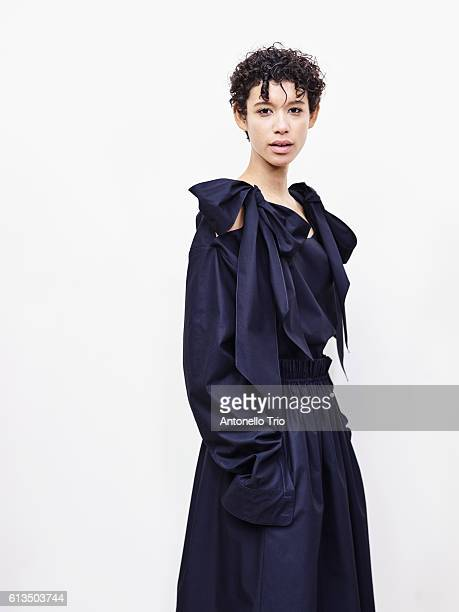 Model Dilone poses prior the Chloe show as part of the Paris Fashion Week Womenswear Spring/Summer 2017 on September 29 2016 in Paris France