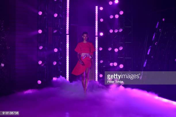 Model Dilone walks the runway at Brandon Maxwell Fall Winter 2018 Collection during New York Fashion Week at Appel Room on February 11 2018 in New...