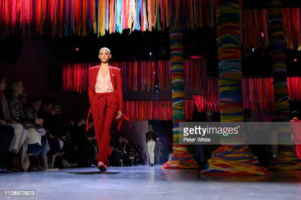 Model Dilone walks the runway at the Prabal Gurung fashion show during New York Fashion Week on February 10 2019 in New York City