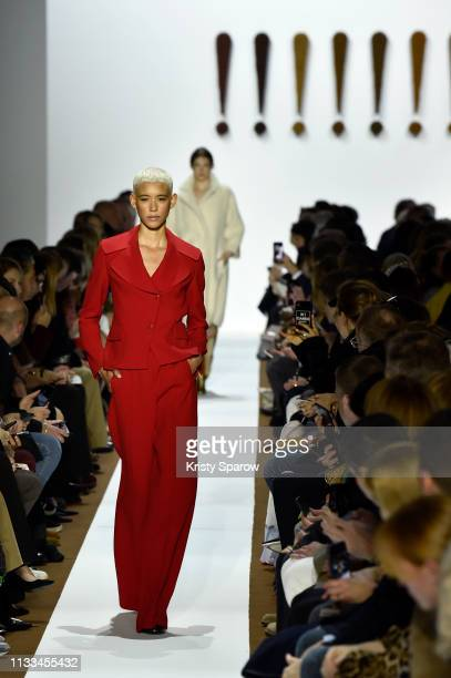 Model Dilone walks the runway during the Akris show as part of Paris Fashion Week Womenswear Fall/Winter 2019/2020 on March 03, 2019 in Paris, France.
