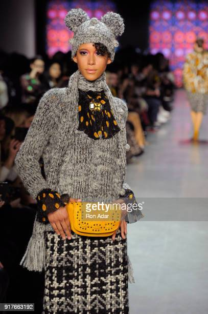 Model Dilone walks the runway for Anna Sui during New York Fashion Week The Shows at Gallery I at Spring Studios on February 12 2018 in New York City