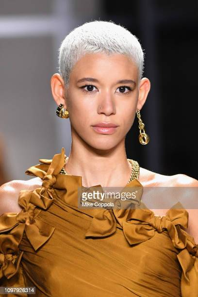 Model Dilone walks the runway for the Zimmermann fashion show during New York Fashion Week The Shows at Gallery I at Spring Studios on February 11...