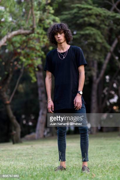 Model Diogo Guerreiro wears Diesel sneakers ZARA Tshirt Bershka trousers and Swatch watch during Lisbon Fashion Week 'ModaLisboa' Spring/Summer 2018...
