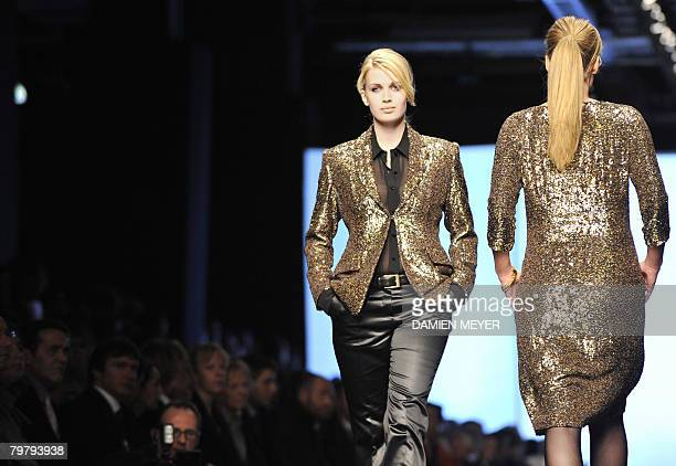 Model display creations by Italian fashion designer Elena Miro during the Autumn/Winter 2008/2009 women's collections at Milan Fashion Week on...