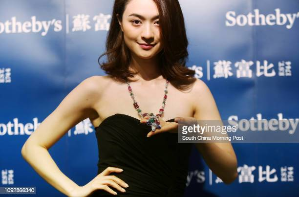 Model display French Chic Rare Gem Set and Diamond Pendent Necklace Mauboussin at Media Preview of Sotheby's Spring Sale 2017 at Sotheby's Hong Kong...