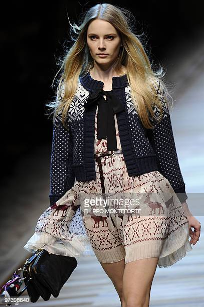 A model displays a creation as part of DG FallWinter 20102011 readytowear collection on February 25 2010 during the Women's fashion week in Milan AFP...