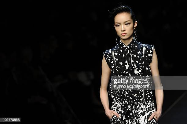 A model displays a creation as part of Dolce Gabbana FallWinter 20112012 readytowear collection on February 27 2011 during the Women's fashion week...