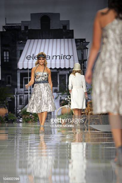 A model displays a creation as part of Elena Miro springsummer 2011 readytowear collection on September 22 2011 during the Women's fashion week in...