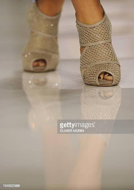 A model displays a creation as part of Elena Miro springsummer 2011 readytowear collection on September 22 2010 during the Women's fashion week in...