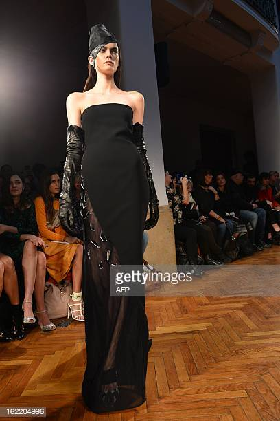 A model displays a creation as part of Frankie Morello FallWinter 20132014 Womenswear collection on February 20 2013 during the Women's fashion week...