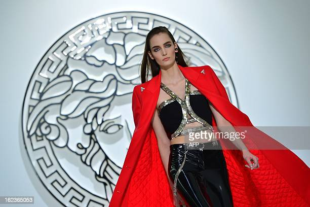 A model displays a creation as part of Versace FallWinter 20132014 Womenswear collection on February 22 2013 during the Women's fashion week in Milan...