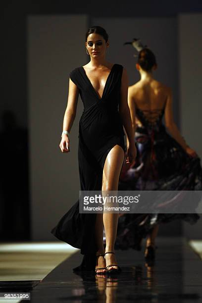 A model displays a creation by Chile's former Miss Universe Cecilia Bolocco on April 8 2010 in Santiago Chile Bolocco began designing for women over...