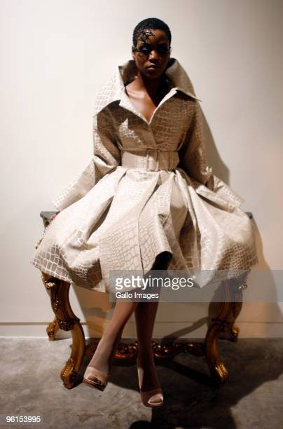 Model displays a creation by David Tlale during the Audi Fashion Week at the Sandton Convention Centre on January 21, 2010 in Johannesburg, South...